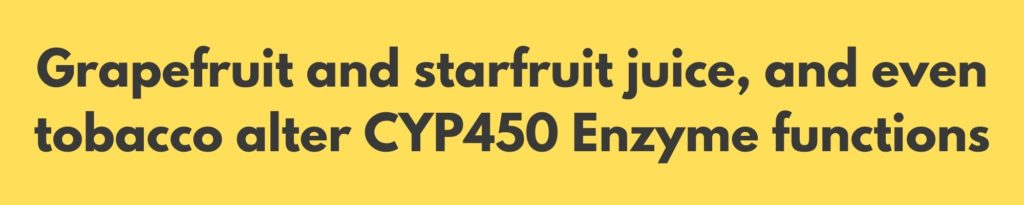 CBD interacts with medications like grapefruit juice starfruit and tobacco does since it alters CYP450 Enzyme as well