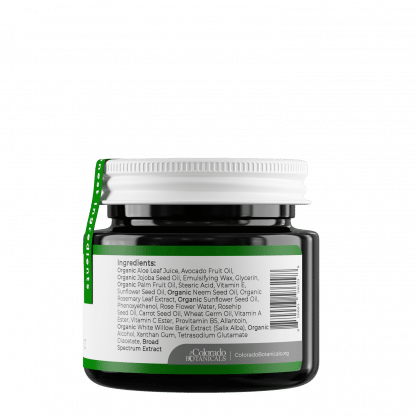Colorado Botanicals Broad Spectrum CBD Hemp Infused 200mg Rejuvenate Salve side view showing ingredients
