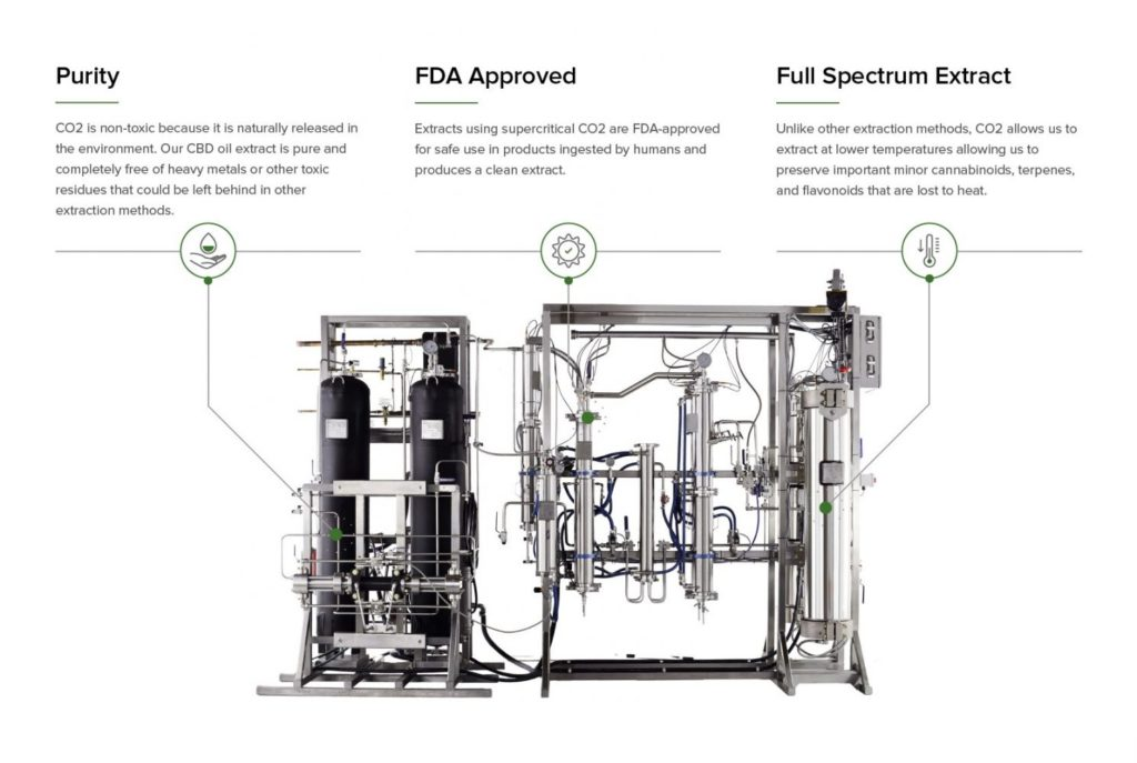 Benefits of CO2 Extraction of CBD terpenes and flavonoids infograph explaining purity FDA approved and full spectrum extract